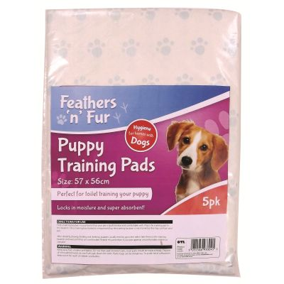 5 pack Dog Training Pads approximately 57 cm x 56 cm Suitable for small dogs Lock in moisture and are super absorbent