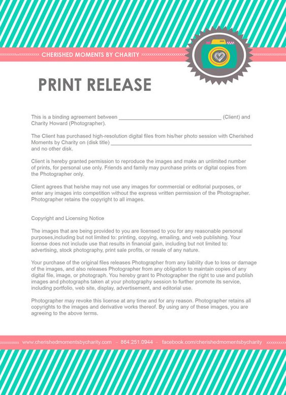 17 Best images about Photography papers on Pinterest Crafts - photographer release form
