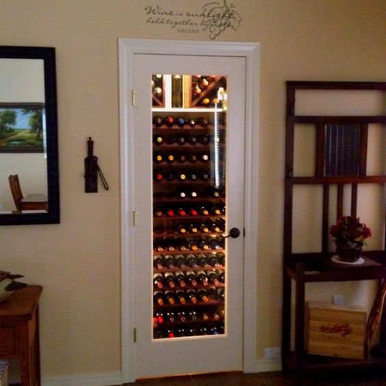 My Entryway Closet Wine Cellar Replace Door With Glass