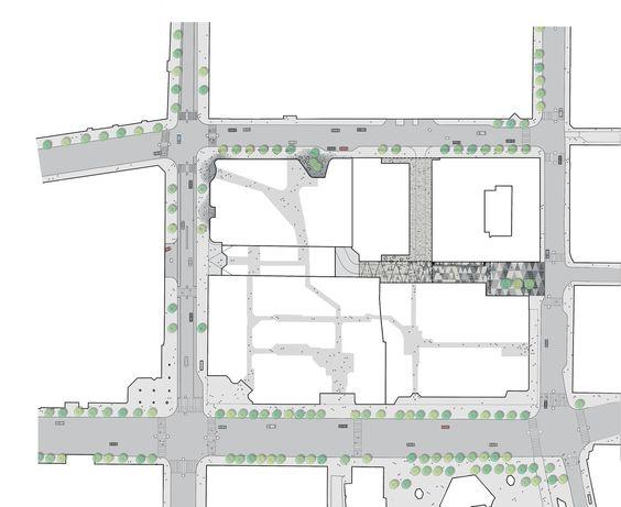 schmidt hammer lassen Designs Mixed-Use Development in Central Stockholm,Site Plan with Pavement