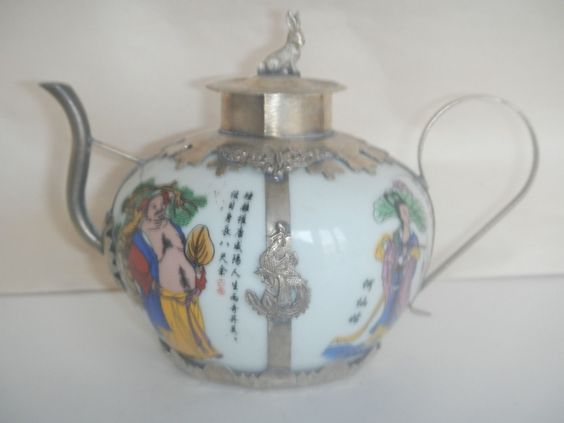 Decorated Handwork Porcelain Silver Armored Dragon Lid Rabbits Teapot   eBay