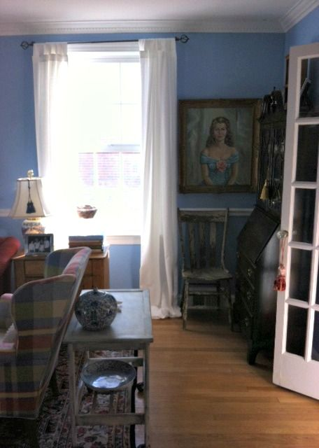 Living Room ~ chippy chair from antiques store