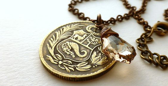 Coin necklace, Peru, Swarovski necklace, Golden shadow, Vintage necklace, Brass necklace, Coin jewelry, Upcycled necklace, Peru, Coins, 1948 by CoinStories on Etsy
