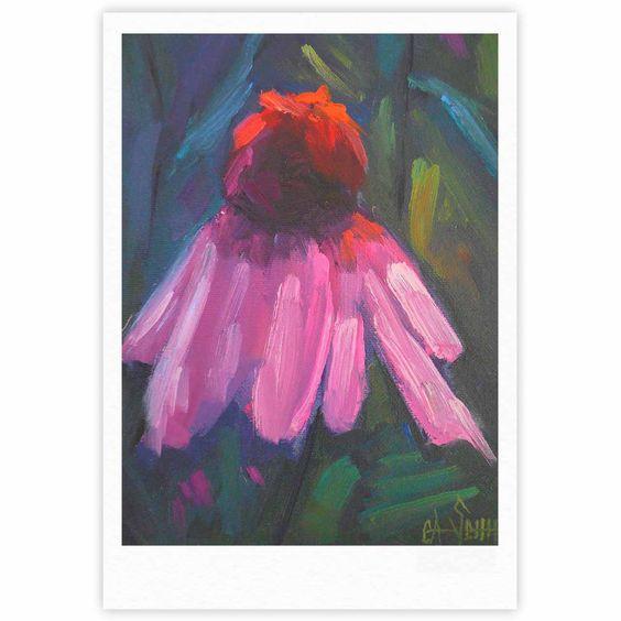 "Carol Schiff ""Shady Coneflower "" Pink Red Fine Art Gallery Print"