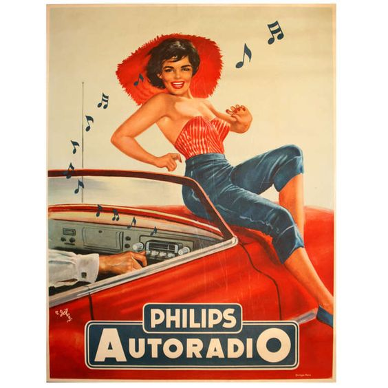 1950s Pin Up Style Advertising Poster by R. Jeleng: Phillips Autoradio