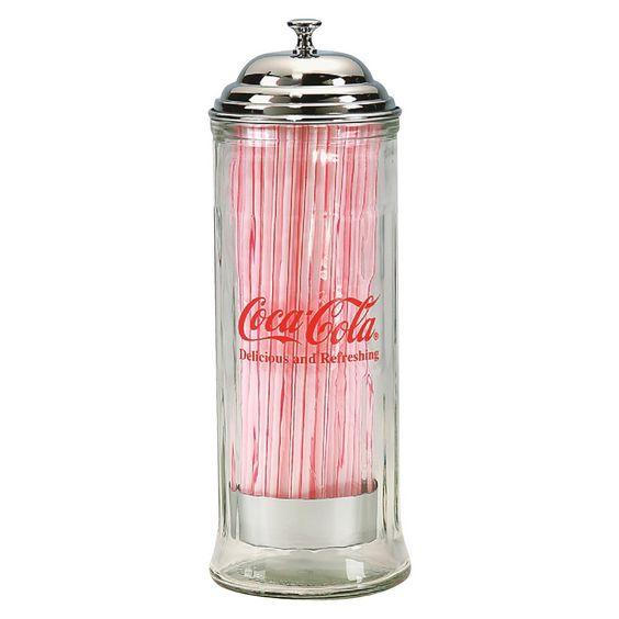 TableCraft Coca-Cola Straw Dispenser, Silver