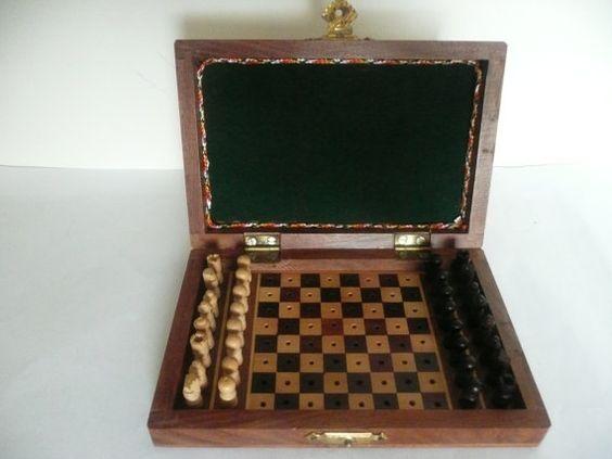 Miniature wooden travel chess set, Vintage chess set