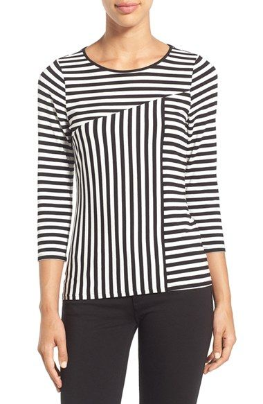 Vince Camuto 'Sonnet Stripe' Crewneck Top (Regular & Petite):