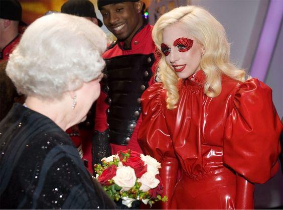 Gaga meets the Queen wearing a latex dress