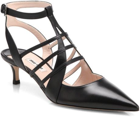 Women's Black Kitten Heel Leather Pumps | Miu miu, Leather pumps ...