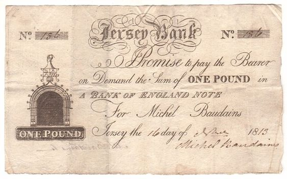 Victorian Five Pound Note | Regency Era Currency: One pound note, Bank of Jersey, 1813.