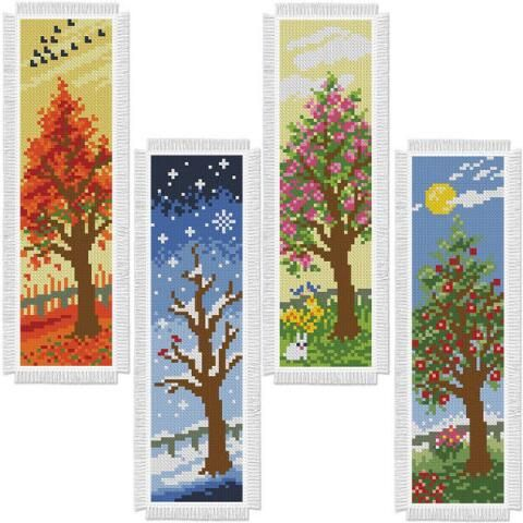 Herrschners Four Seasons Trees Bookmarks Counted Cross Stitch Kit