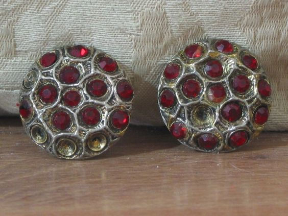 RED RHINESTONE COAT BUTTONS 2 Antique Cast Pewter Settings Missing 5 Stones  1.8P722B48717JUNK0267,68   http://ajunkeeshoppe.blogspot.com/