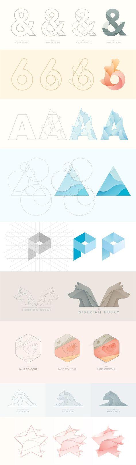 Logo Логотип Объемный логотип построение этапы