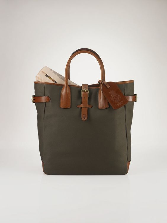 Canvas & Leather Tote - Totes  Bags & Business Accessories - RalphLauren.com