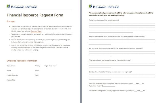Financial Resource Request Form - A form that allows staff to - funding request form