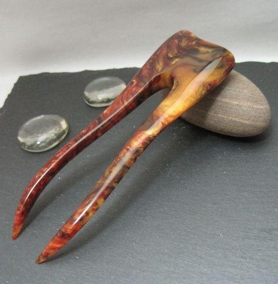 Haarforke aus Acryl in Gold Coast von Avilee Design auf DaWanda.com