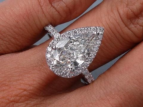 3.70ct Pear Shape Moissanite Diamond Engagement Ring 18kt White Gold JEWELFORME BLUE PAY #1