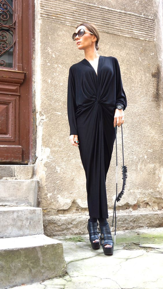 NUEVA colección SS/15 negro extravagante Kaftan / Maxi por Aakasha