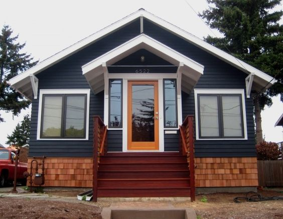 Dark gray house with natural wood trim outdoor google - Exterior wood paint black ...