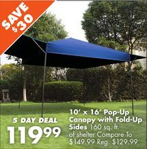 10 x 16 pop up canopy with fold up sides from big lots save 30 elizabeth falls. Black Bedroom Furniture Sets. Home Design Ideas