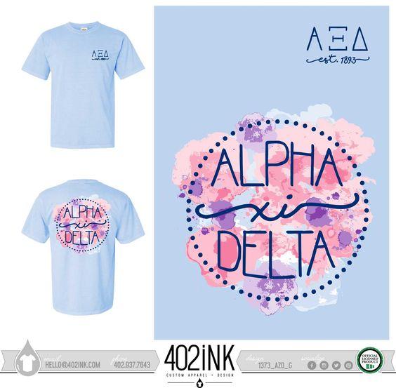 #402ink #402style 402ink, Custom Apparel, Greek T-shirts, Sorority T-shirts, Fraternity T-shirts, Greek Tanks, Custom Greek Apparel, Screen printed apparel, embroidered apparel, Sorority, AXID, Alpha Xi Delta, Letters, Comfort Colors
