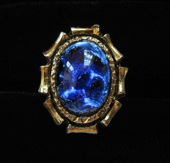 Blue Foil Glass Cocktail Ring Adjustable by Elsewind on Etsy, $23.00