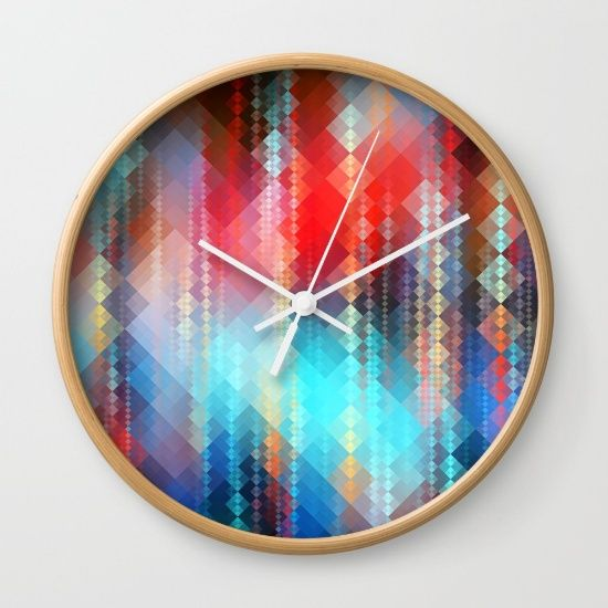 """https://society6.com/product/fractal-pixels_wall-clock  #society6 #wallclock #clock #product #sale @society6 @faSHIon #abstract #gold #TMarchev #goldie #3d #design #rt  Available in natural wood, black or white frames, our 10"""" diameter unique Wall Clocks feature a high-impact plexiglass crystal face and a backside hook for easy hanging. Choose black or white hands to match your wall clock frame and art design choice. Clock sits 1.75"""" deep and requires 1 AA battery (not included)."""