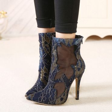 Pointed Closed Toe Lace Hollow-out Stiletto Super High Heel Blue Basic Pumps