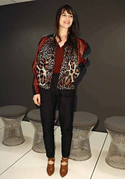 Charlotte Gainsbourg donned bordeaux animal print panel PF12 leather jacket by Balenciaga at the Balenciaga show, Paris, March 1rst, 2012