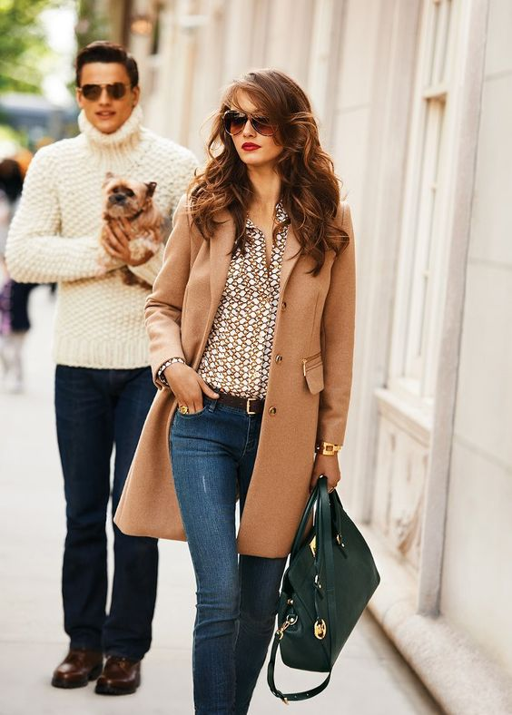 this fall: rich colors with a hint of print {micheal kors}: Street Style, Michaelkor, Camel Coat, Fall Outfit, Michael Kors Coat, Hair Color, Fall Winter