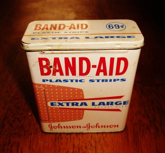 Band-Aid Extra Large Plastic Strips tin.