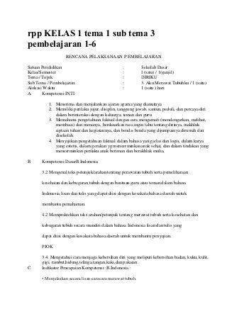 Rpp Kelas 1 Tema 1 Sub Tema 3 Pembelajaran Belajar Pendidikan