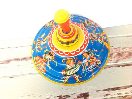 Vintage Spin Top Toy Child's Toy Retro by RevivalVintageStudio