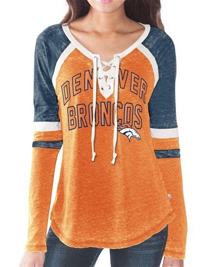 Women's Denver Broncos Majestic Navy Tough Win Long Sleeve T-Shirt