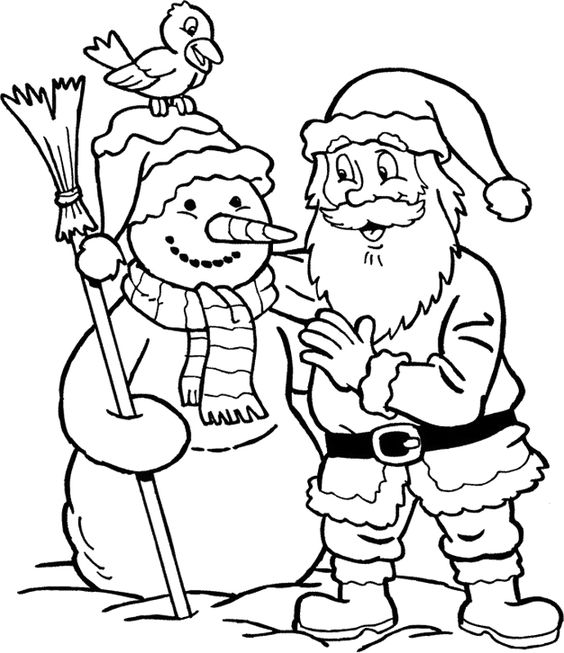 santa and snowman coloring pages - photo#7