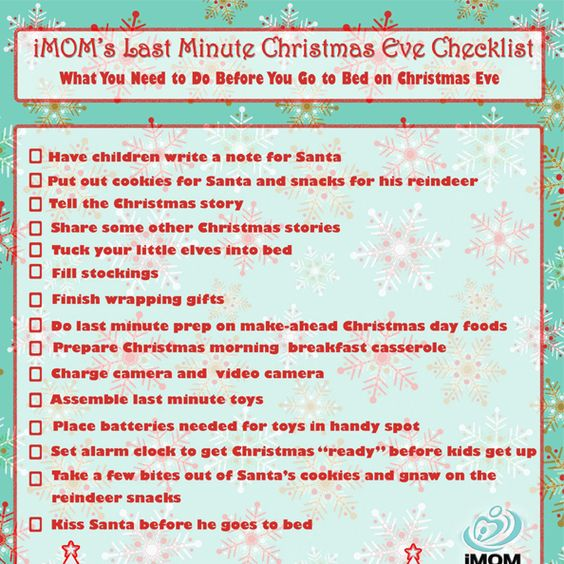 Use iMOM's Christmas Eve checklist to keep the merry in your Christmas.