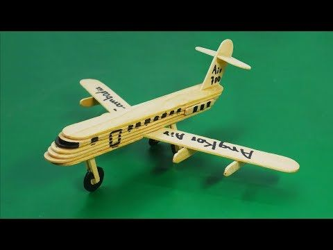 How To Make An Airplane By Popsicle Stick Ice Cream Civil Aviation Aircraft Youtube Airplane Crafts Craft Stick Projects Popsicle Sticks