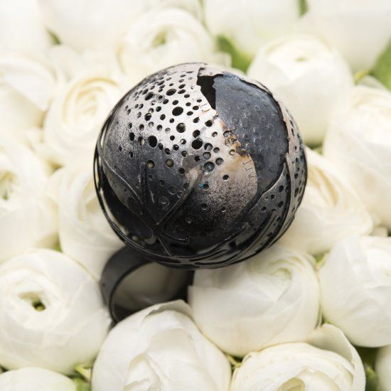 "Anna Król , ""THE SPHERE"" - 925 silver oxidized with the use of black ceramic paint/ argento 925 ossidato con vernice ceramica nera 4,3 x 6,3 cm"