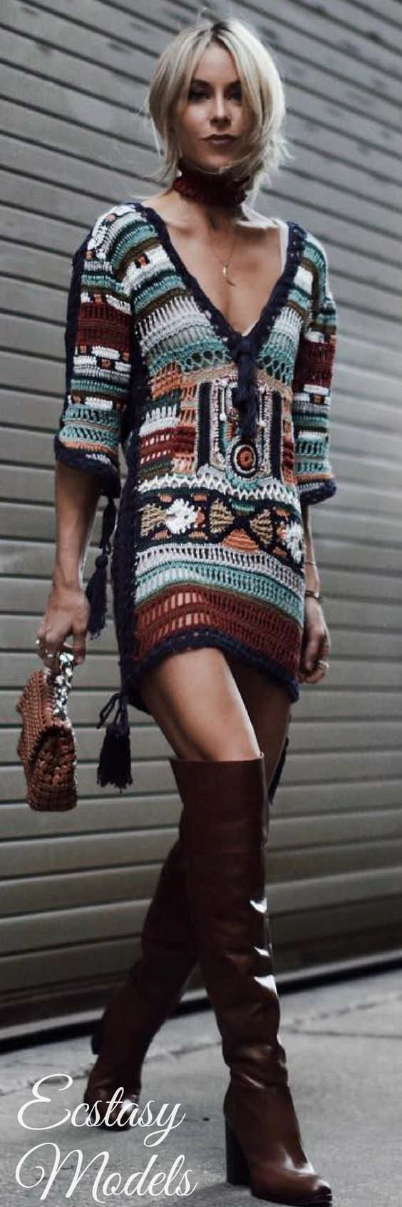 Deep V sweater dress in Aztec and Boho shades with OTK boots.  The long silver chain link cross-body bag adds charm & an edgy accessory to a plain 2 piece style: