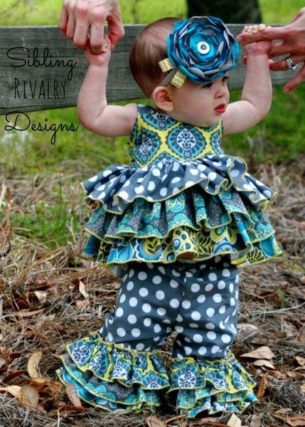 Baby Kara's Infant Girls Boutique Triple Ruffle Pants PDF Pattern