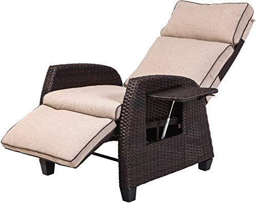 Amazing Offer On Lch Adjustable Recliner Relaxing Sofa Chair Outdoor Wicker Furniture Aluminum Frame Lounge Beige Soft Thicken Cushions Porch Backyard Pool Outdoor Recliner Lounge Chair Outdoor Outdoor Wicker Furniture