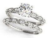 BrillianceDeco.Com Vintage Unique Moissanite Bridal Ring Set Antique Style 14k White Gold 0.90 Ctw.