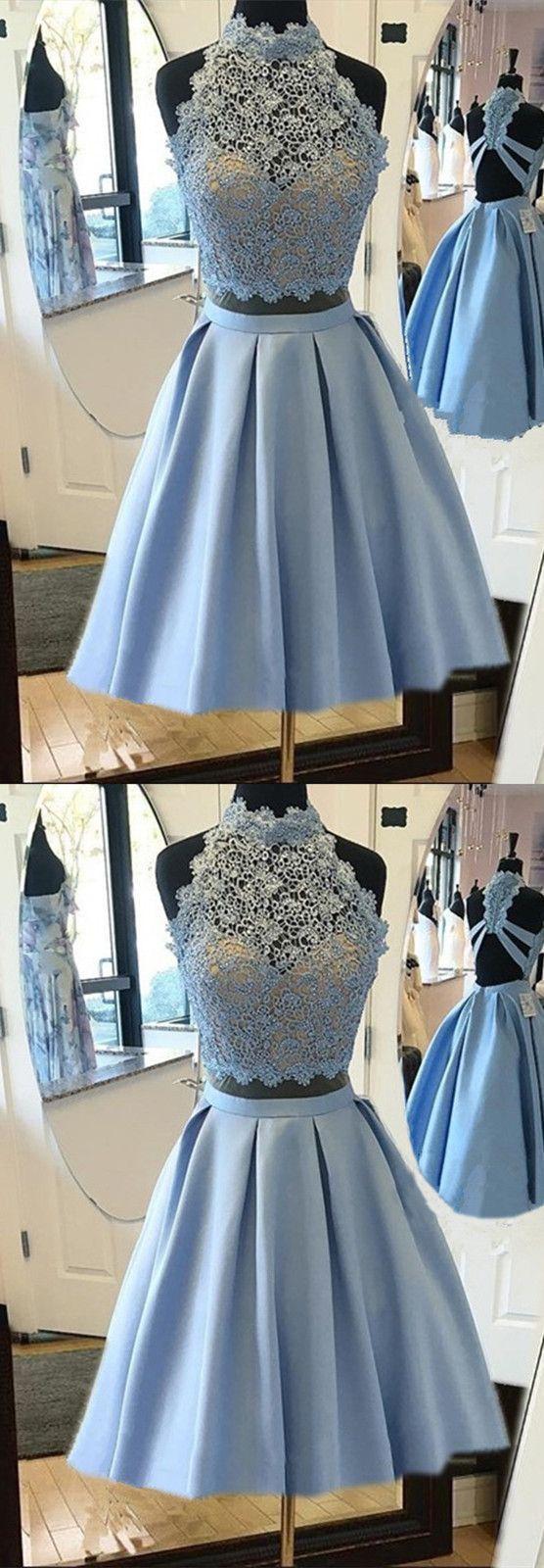 Elegant Light Blue Homecoming Dresses Lace Crop Top Prom Dresses Two Piece Shortpromdress Prom Dresses Blue Blue Homecoming Dresses Two Piece Homecoming Dress [ 1600 x 556 Pixel ]
