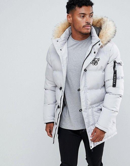 Grey Mens Parka Jacket