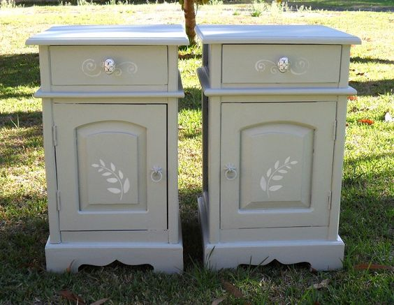 Pair of bedsides in Voodoo Molly Vintage Paint - Paris Grey with ...