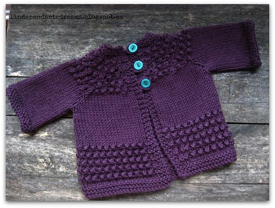 Hand Knit Cotton Aubergine Raglan Sleeve Bobble Yoke Baby ...