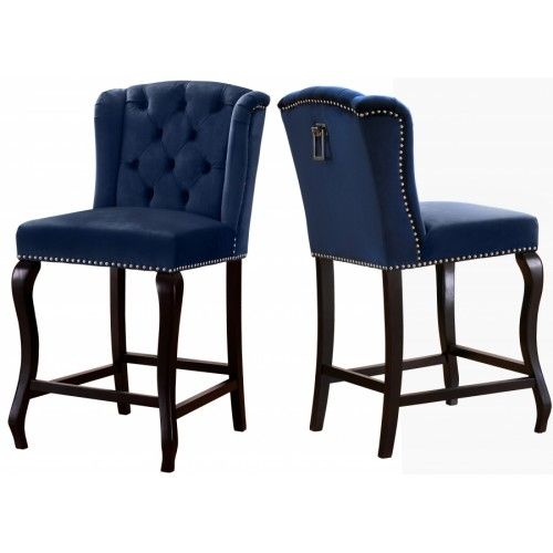 Blue Velvet Wing Back Tufted Counter Stool Set Of 2 Bar Stools Upholstered Dining Chairs Tufted Dining Chairs