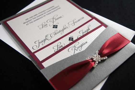 Lisa Z's Burgundy and Gray Custom Pocket by invitationsbykara