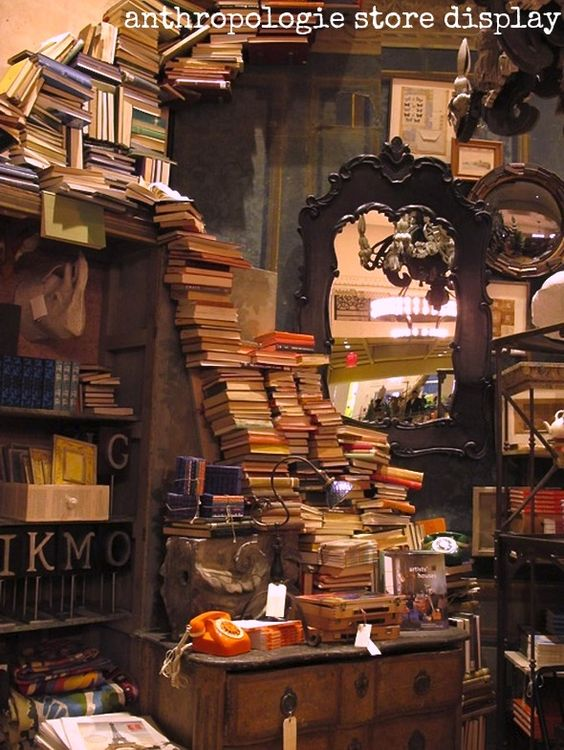 I've only seen this snap mentioned in regards to an Anthropologie store display but couldn't find anything definitive as to its origin. Photo. Books. Photographer unknown. If you have more info, please let me know. Thx.